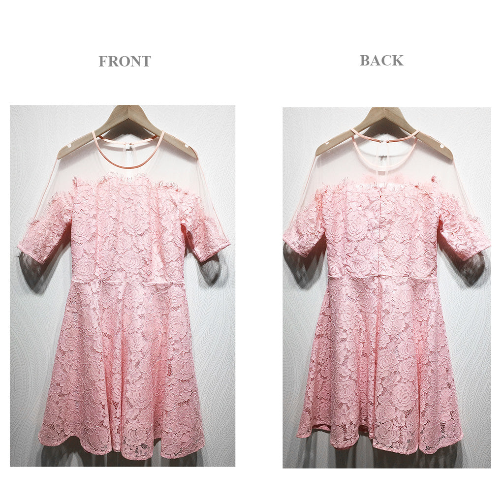 Illusion yoke floral lace fit and flare dress in pink fabric details 3