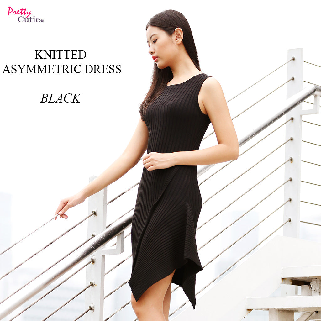 Sleeveless Knitted Asymmetric dress in Black main poster