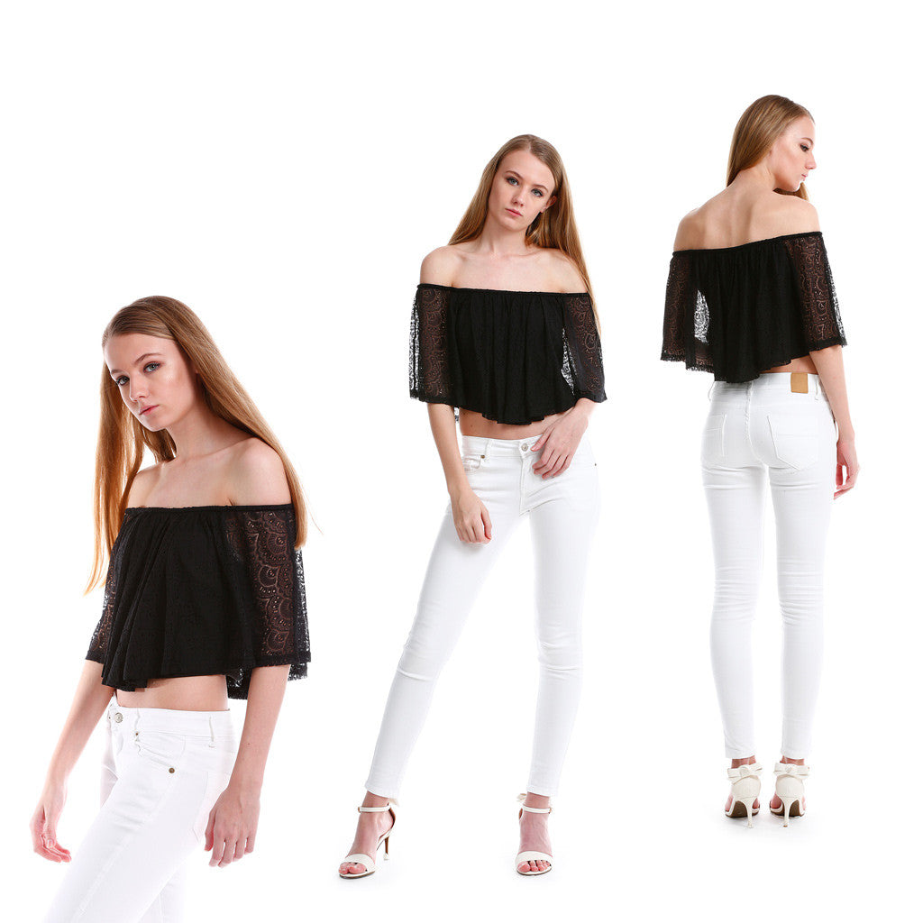 Premium Lace Off Shoulder TOP in Black