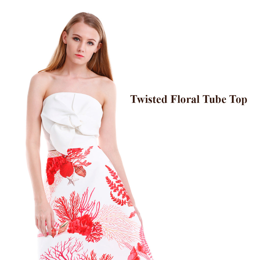 Twisted Floral Tube Top in white main poster