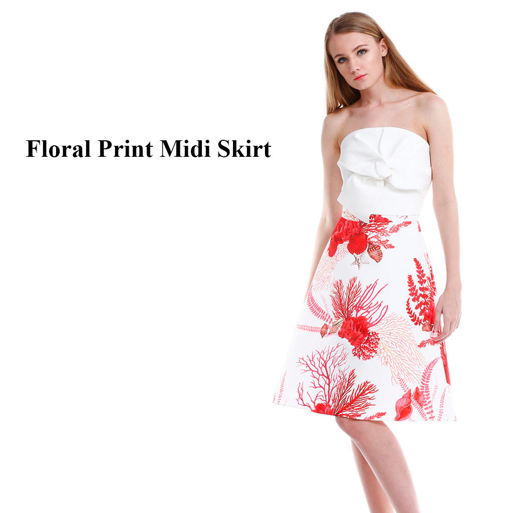 Floral A Line Midi Dress main poster