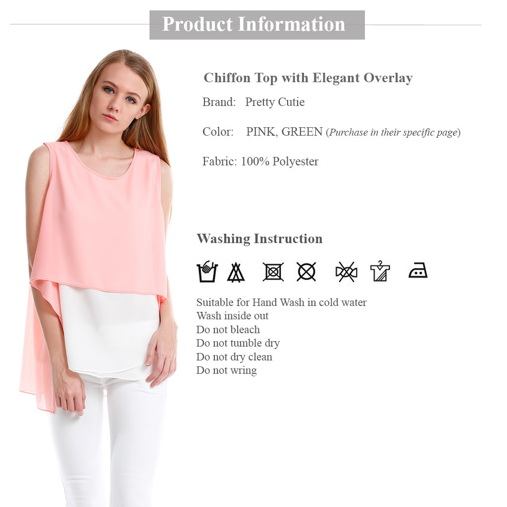 Chiffon Top with Elegant Overlay in Pink product information and wash instruction