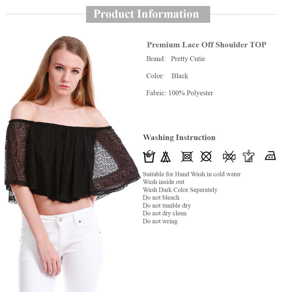 Premium Lace Off Shoulder TOP in Black product information and wash instruction