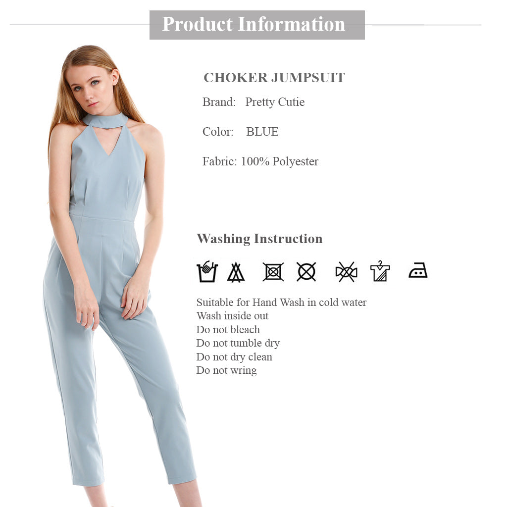 Choker Jumpsuit in Blue product information and wash instruction