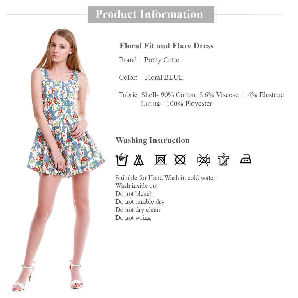 floral fit and flare mini dress product information fabric details and wash instruction