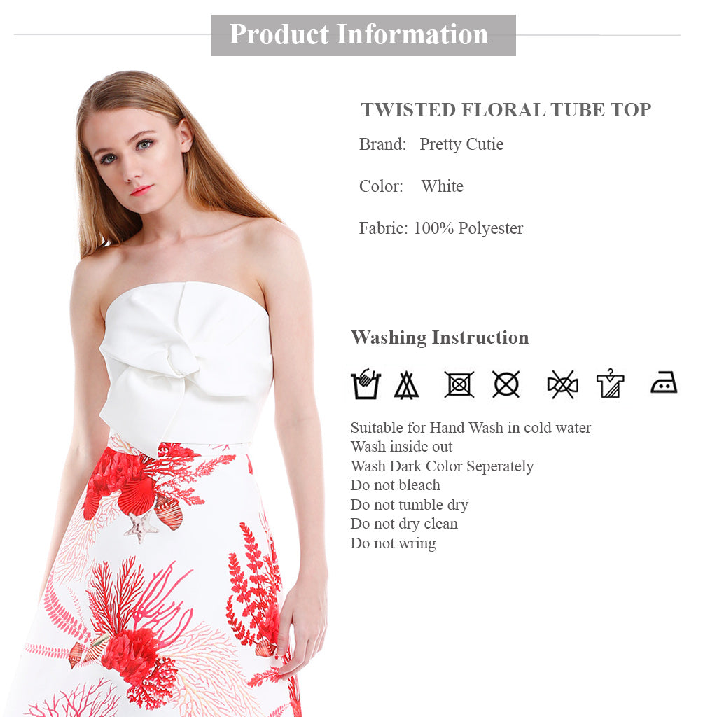 Twisted Floral Tube Top in white product information and wash instruction