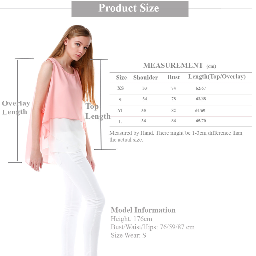 Chiffon Top with Elegant Overlay in Pink size guide