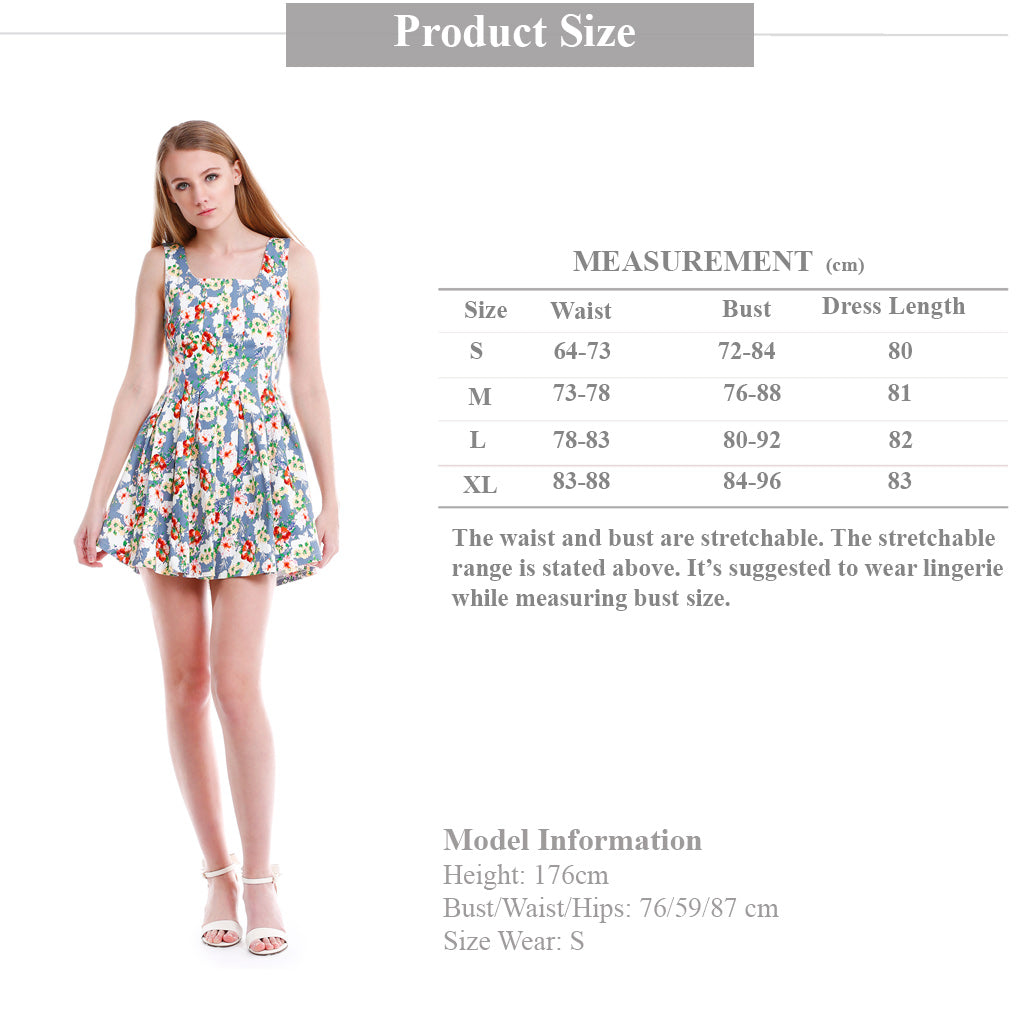 Floral Fit and Flare mini dress size guide
