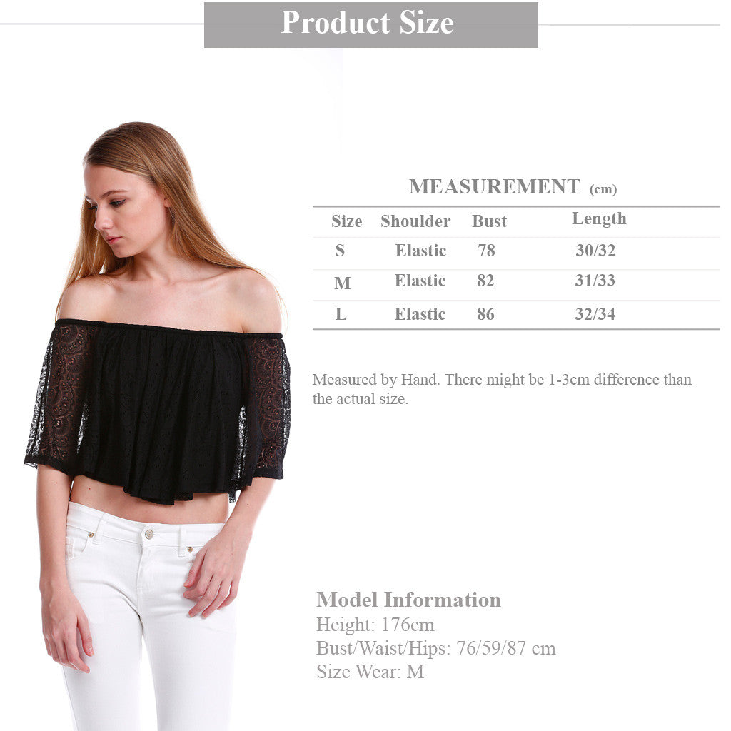 Premium Lace Off Shoulder TOP in Black size guide