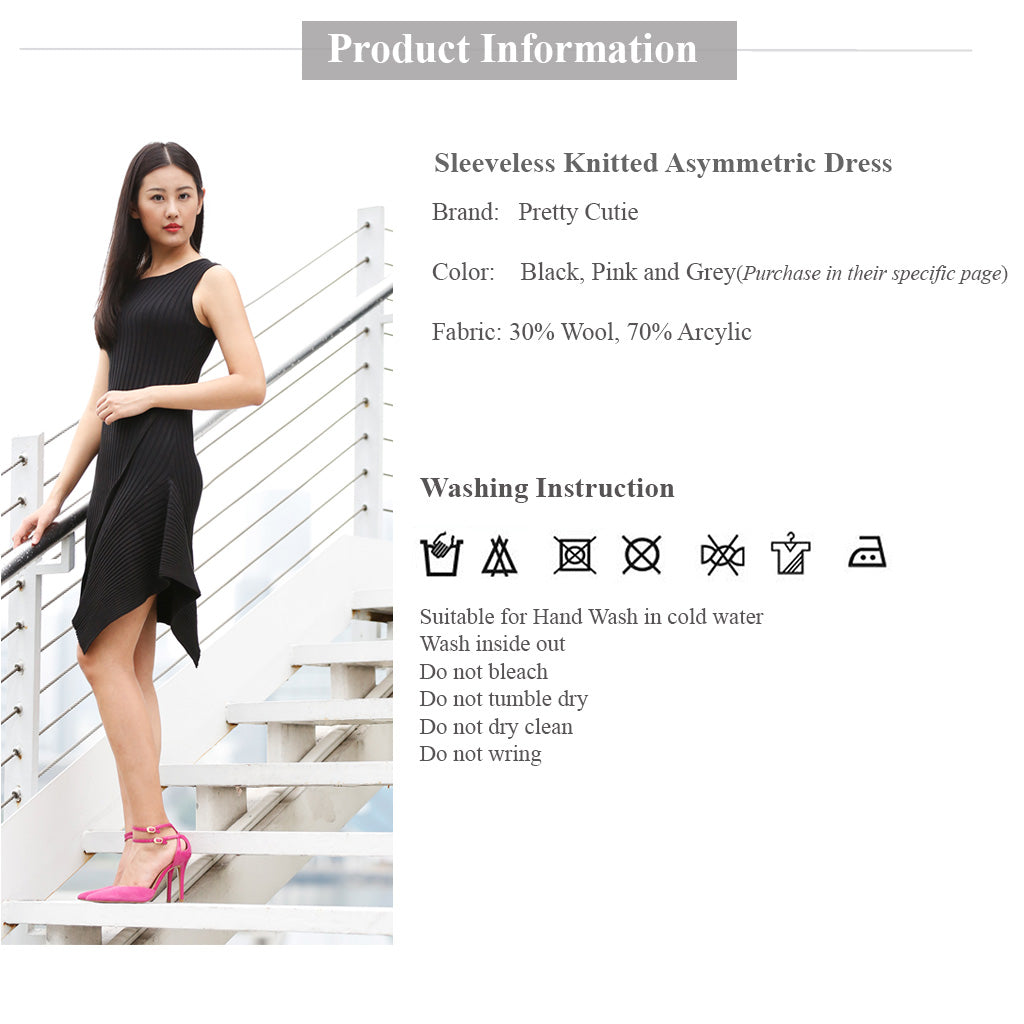Sleeveless Knitted Asymmetric dress in black Product information and wash instructions