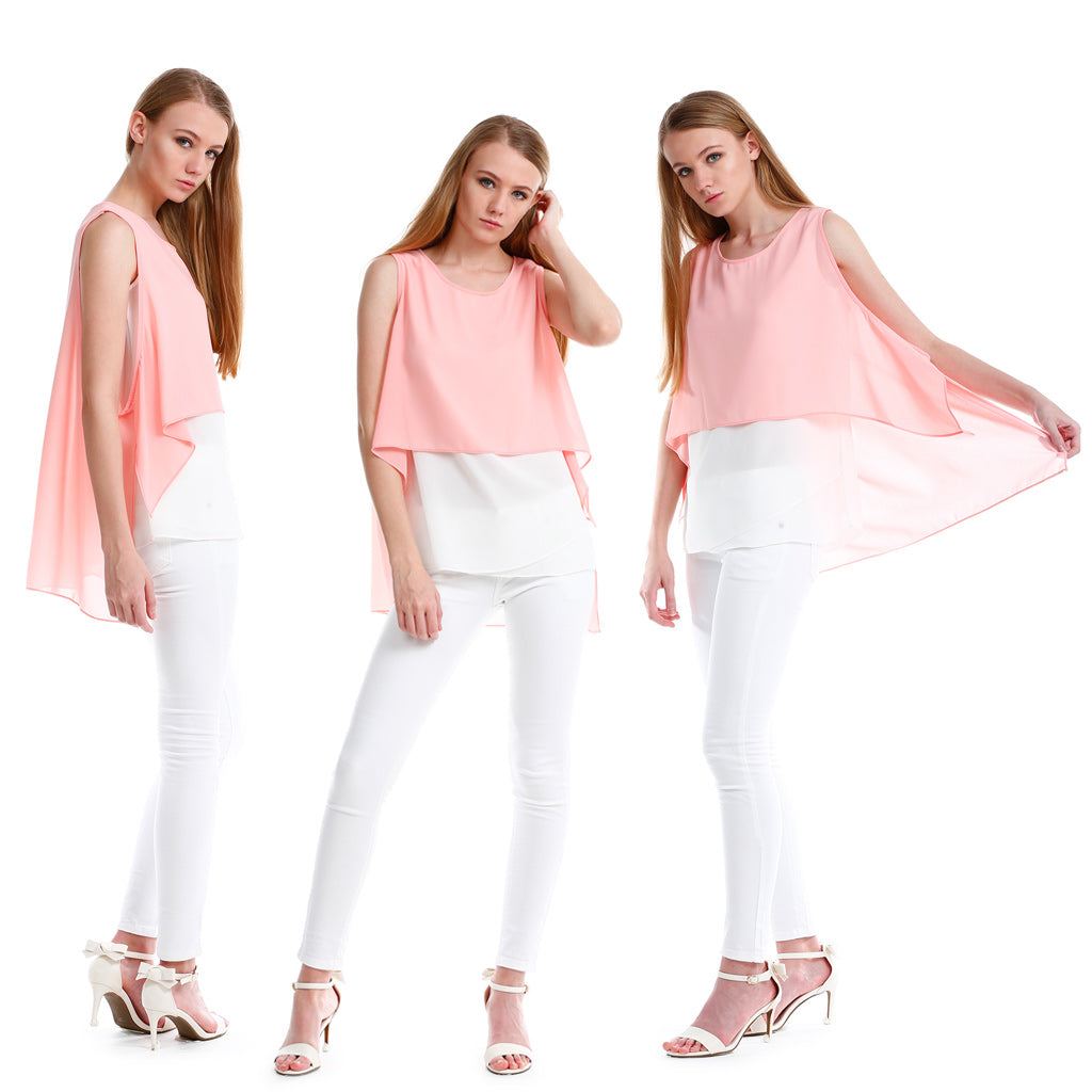 Chiffon Top with Elegant Overlay in Pink models show