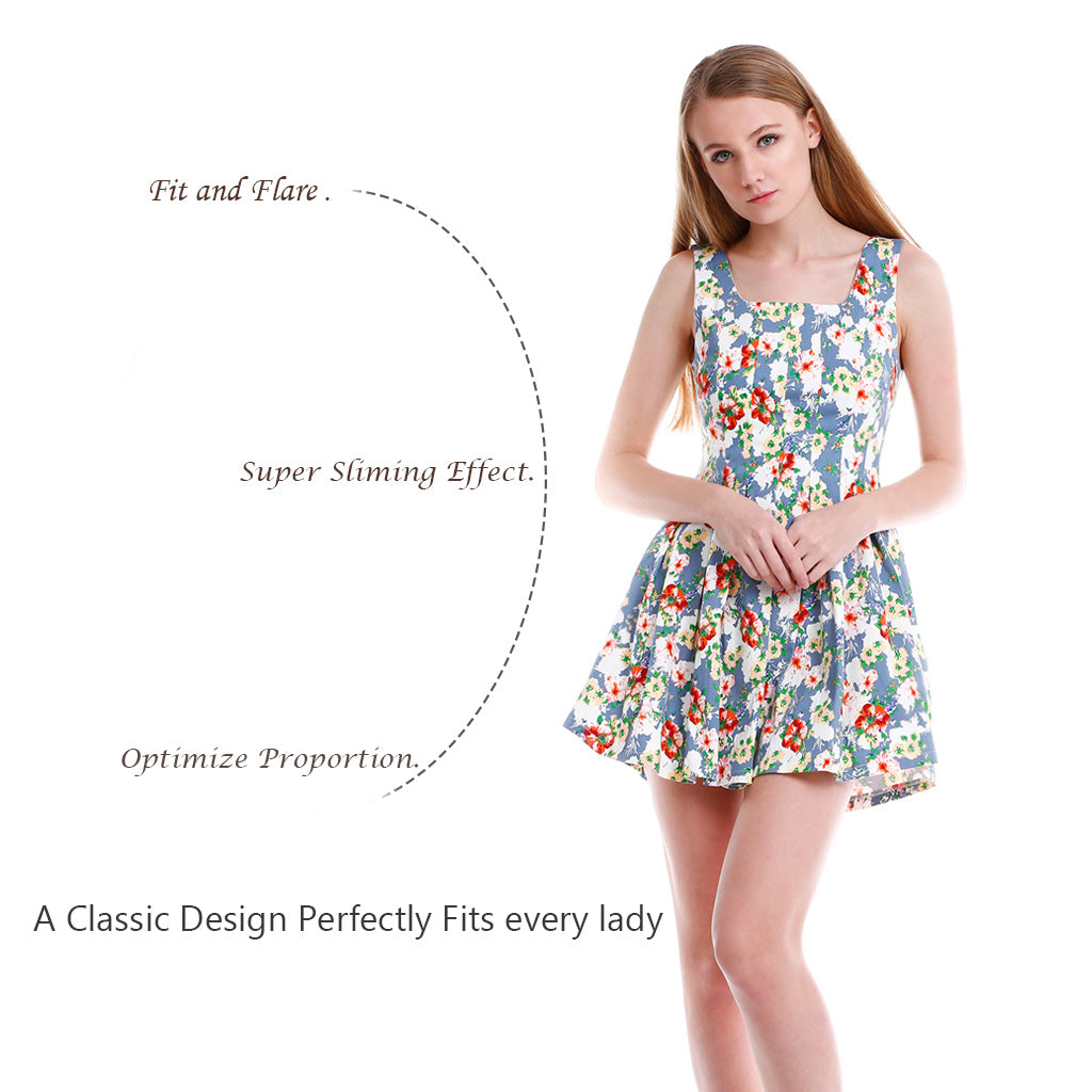 Floral Fit and Flare Mini Dress super slim effect