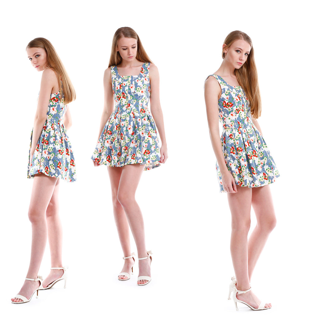 Floral fit and flare mini dress models show