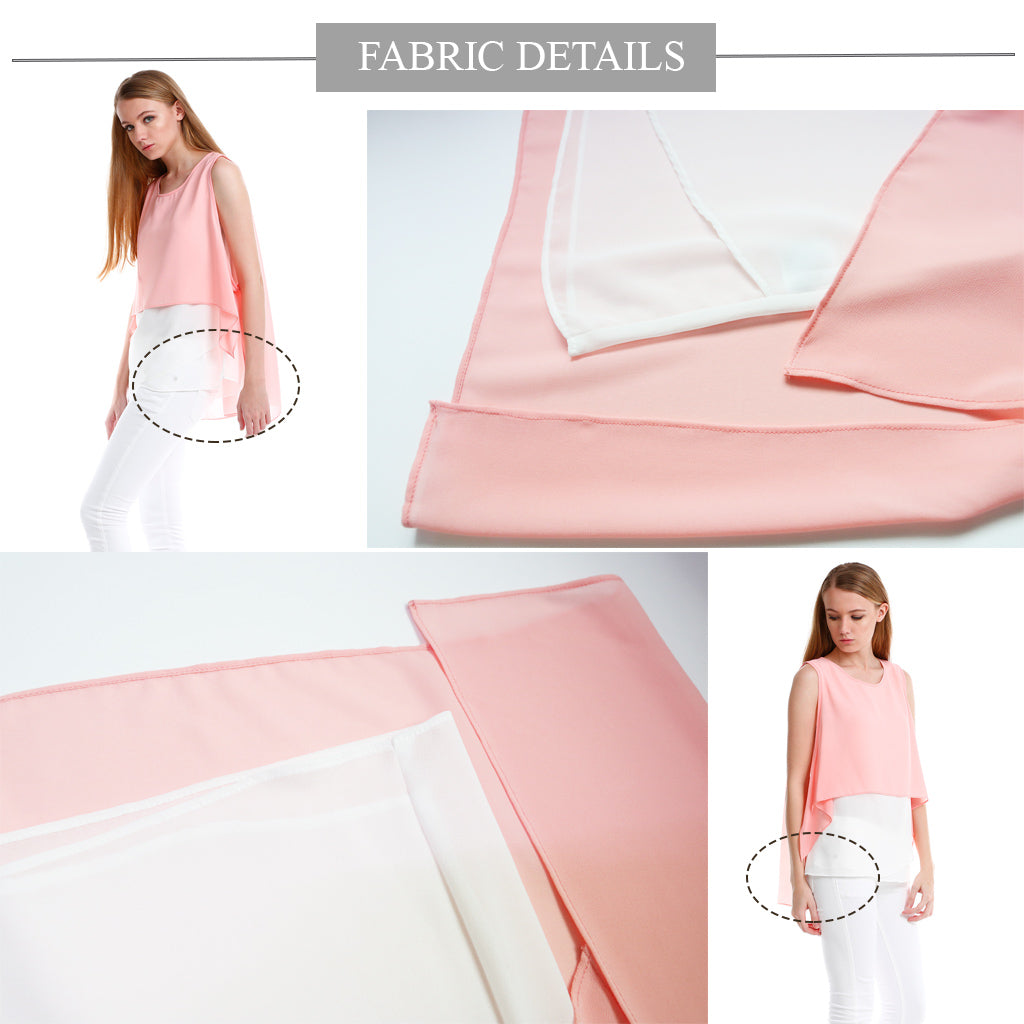 Chiffon Top with elegent overlay in pink fabric details 1