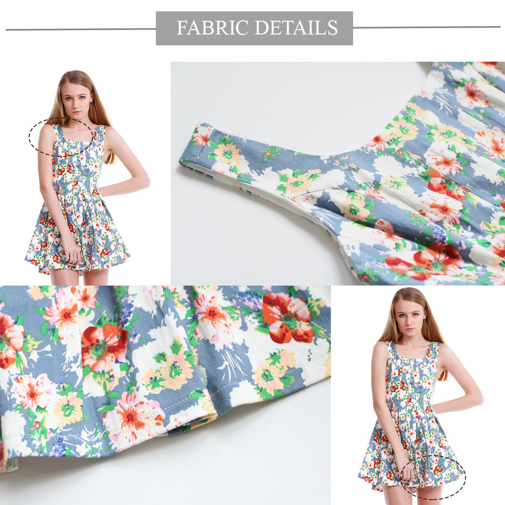 floral fit and flare mini dress fabric details 1