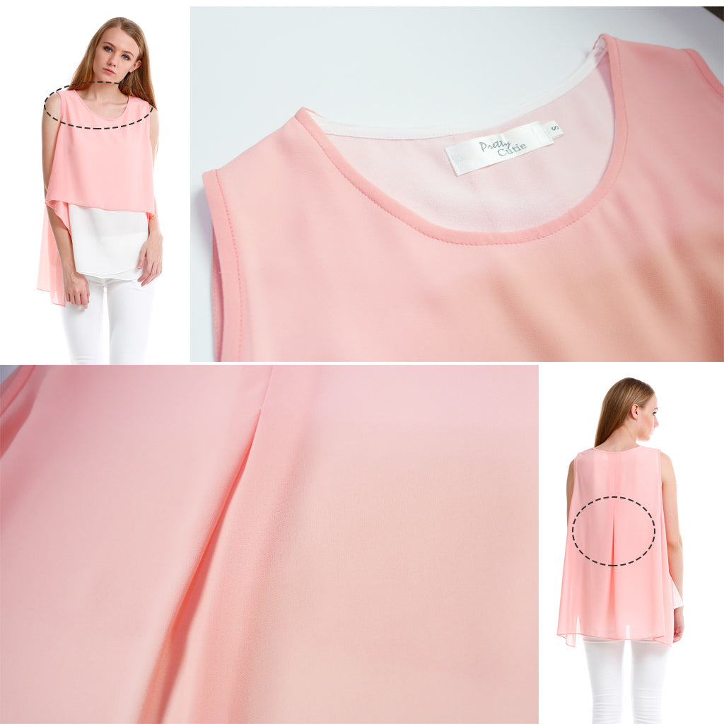 Chiffon Top with elegent overlay in pink fabric details 2