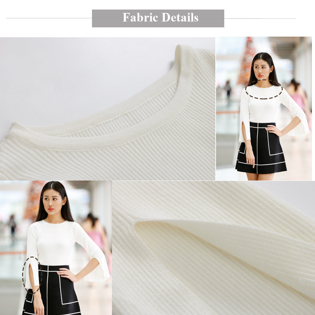 Fabric Details for white Knitted Top