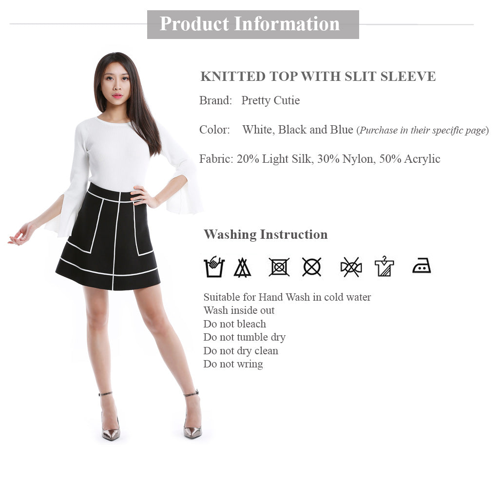 White Round Neck Knitted Top with slit sleeve clothing information and wash instruction
