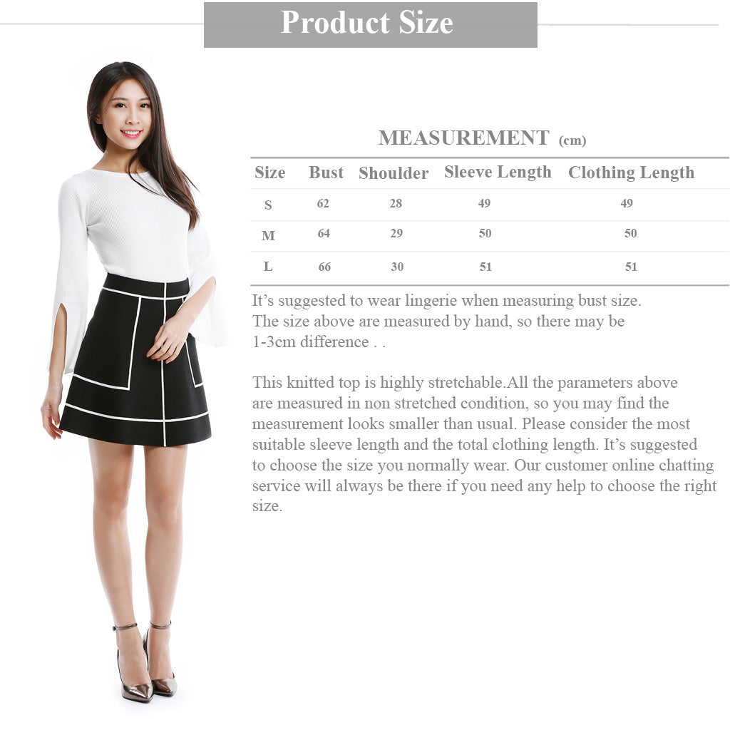 White Round Neck Knitted Top with Slit Sleeve size guide information