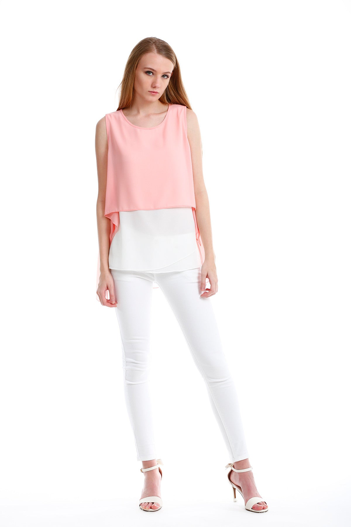Chiffon Top with Elegant Overlay in Pink