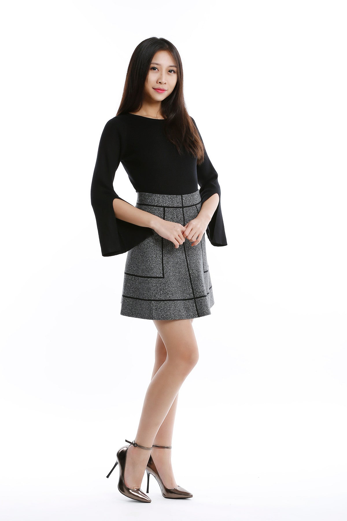 Knitted Top with Slit Sleeve in Black