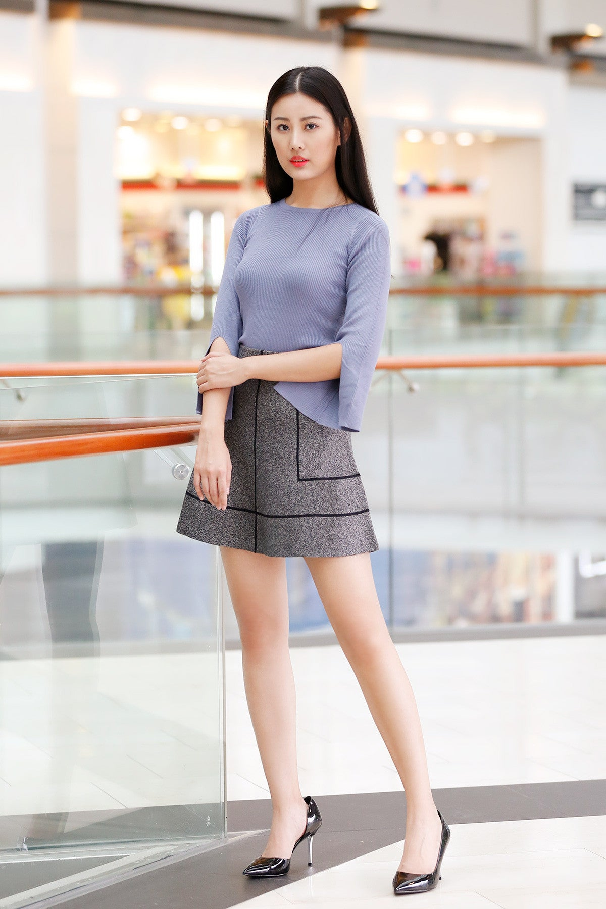 Knitted Top with Slit Sleeve in Blue