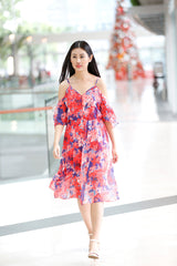Floral Off Shoulder Midi Dress with slit