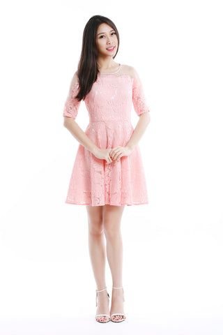 Illusion Yoke Floral Lace Dress in Pink