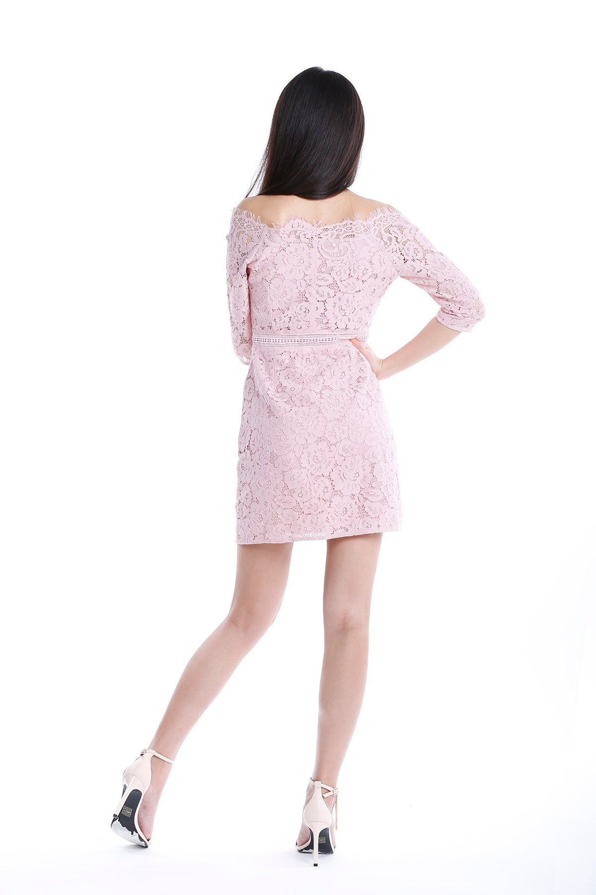 Lace Sheath Dress with Scalloped Sabrina Neck