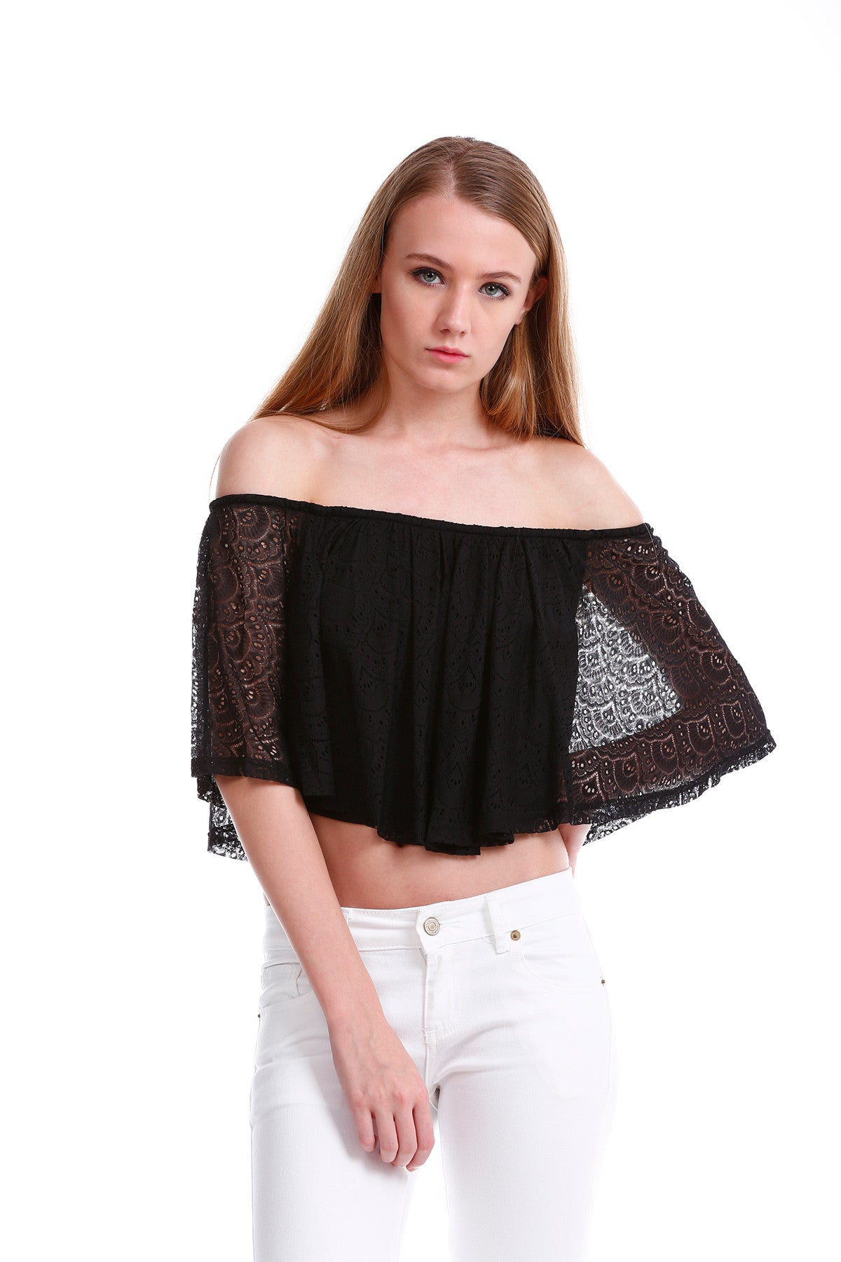 Premium Lace Off Shoulder TOP in Black 3