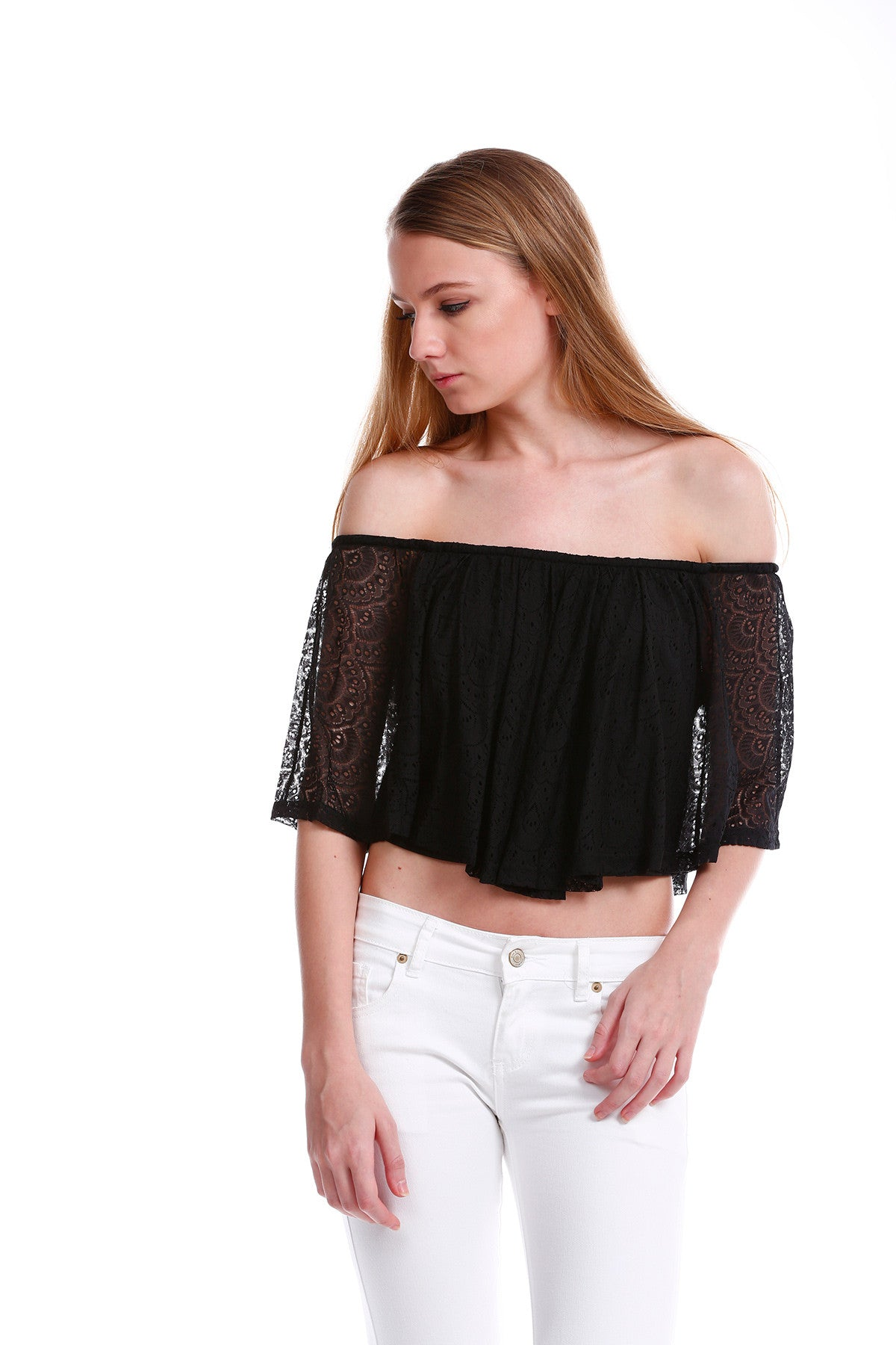 Premium Lace Off Shoulder TOP in Black 2