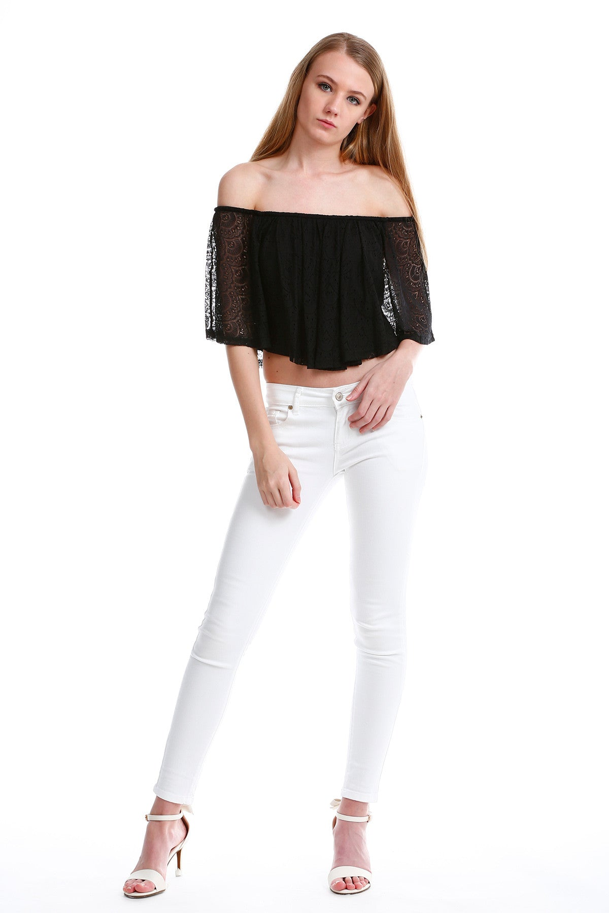 Premium Lace Off Shoulder TOP in Black 5
