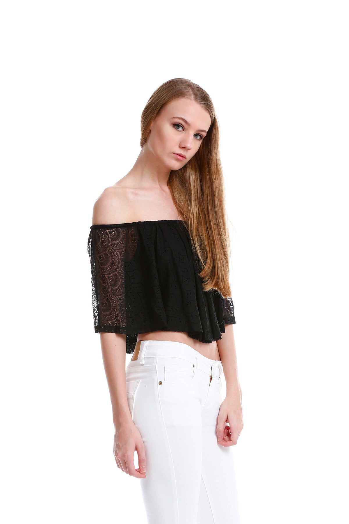 Premium Lace Off Shoulder TOP in Black 6
