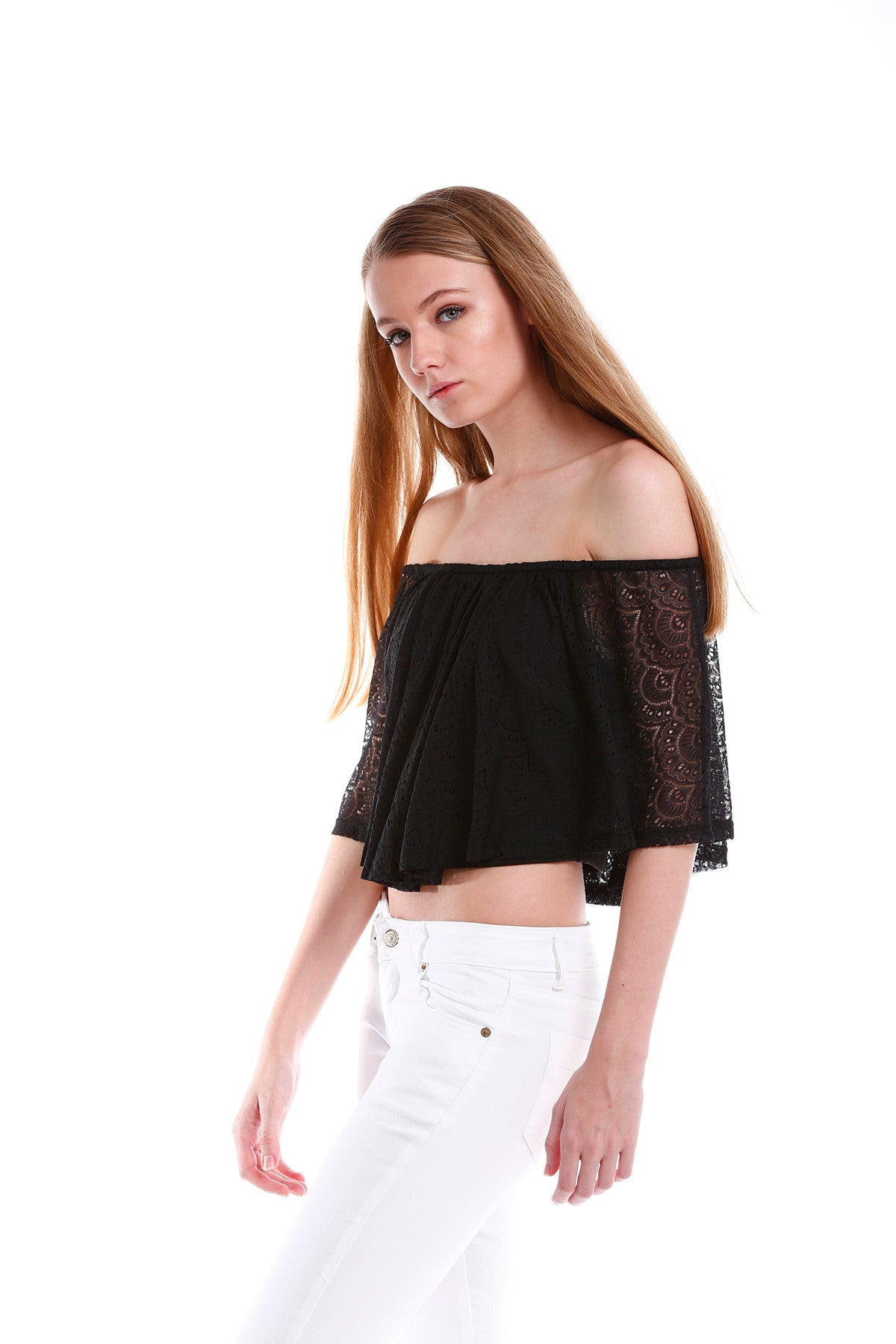 Premium Lace Off Shoulder TOP in Black 7