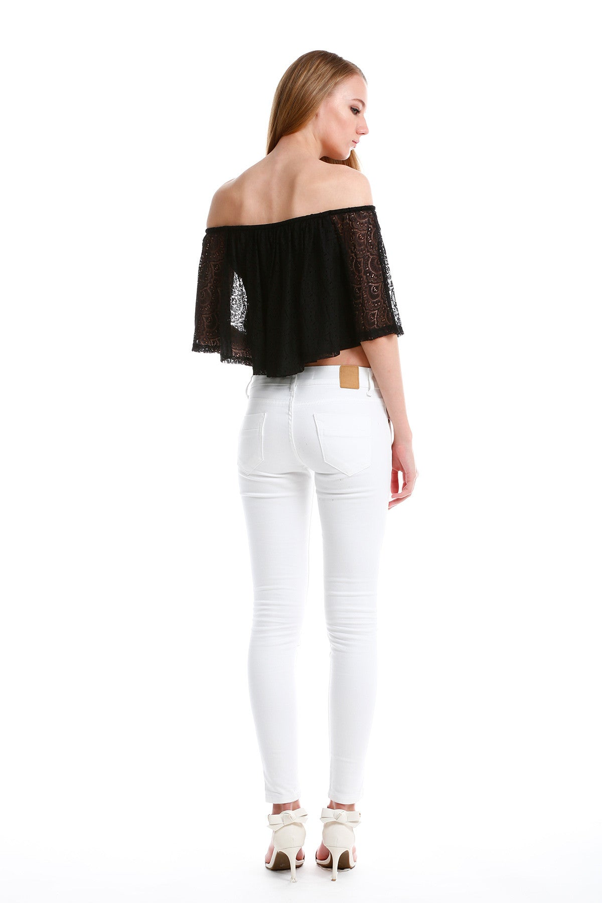 Premium Lace Off Shoulder TOP in Black 8