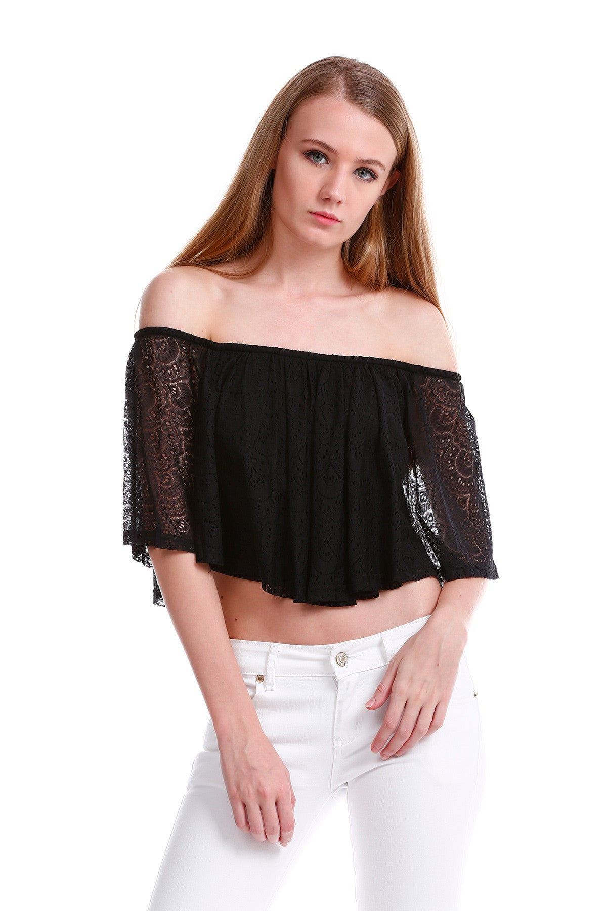 Premium Lace Off Shoulder TOP in Black 1