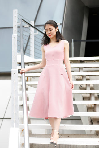 A Line V Neck Midi Dress in Pink