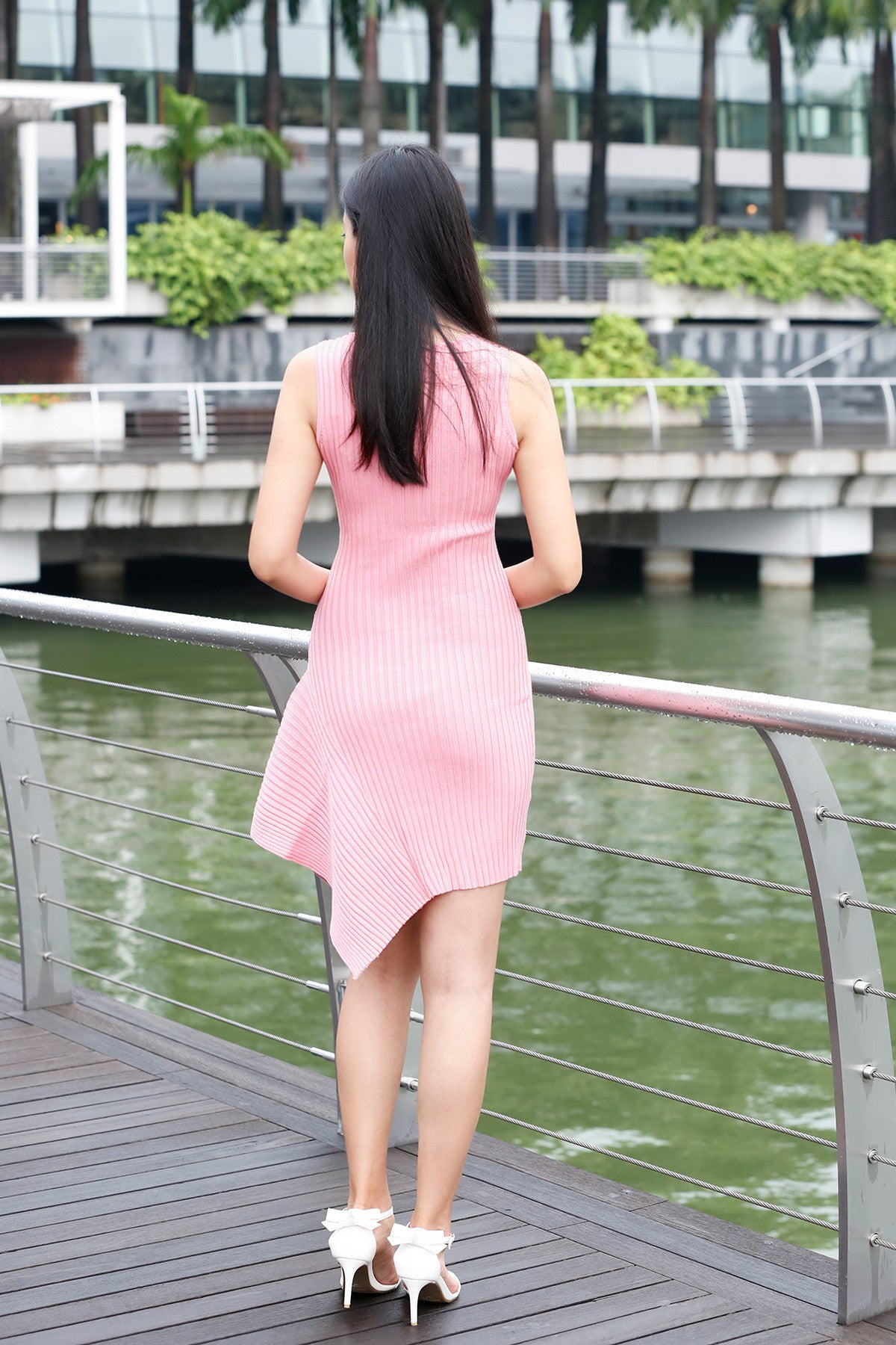 Knitted Asymmetric dress in Pink