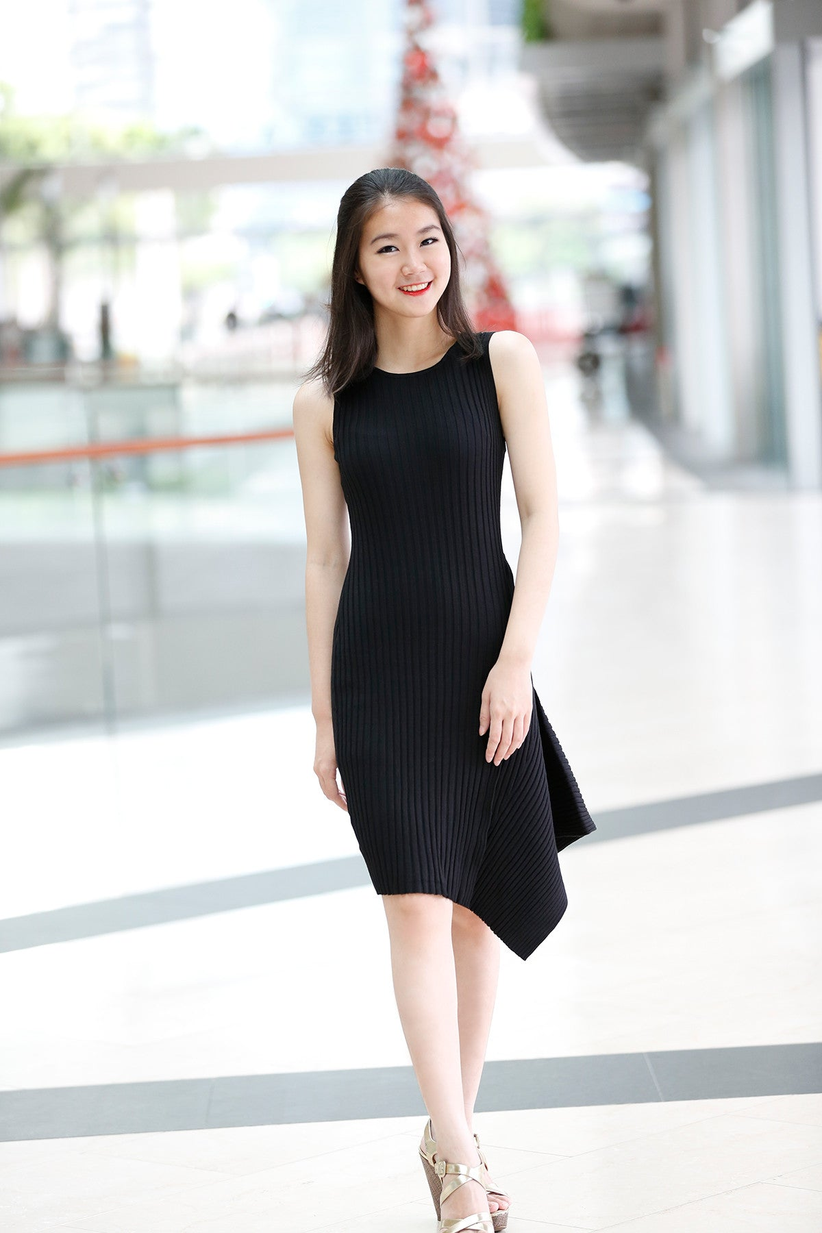 f00706b0885 Knitted Asymmetric dress in Black – PrettyCutieStore