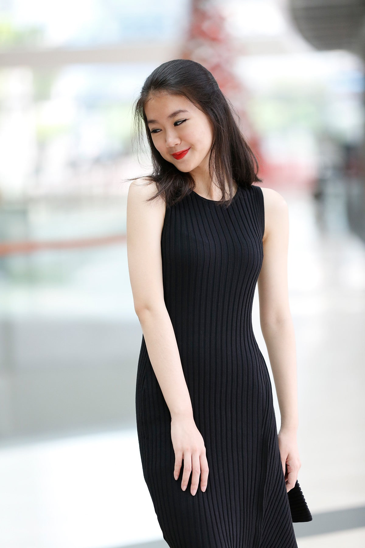 Knitted Asymmetric dress in Black