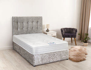 DFI Crushed Silver Velvet Divan Bed Set with Mattress Option