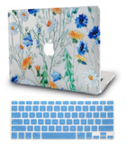 Macbook Case with US Keyboard Cover Package | Floral Collection - Leaves and Flowers - Case Kool