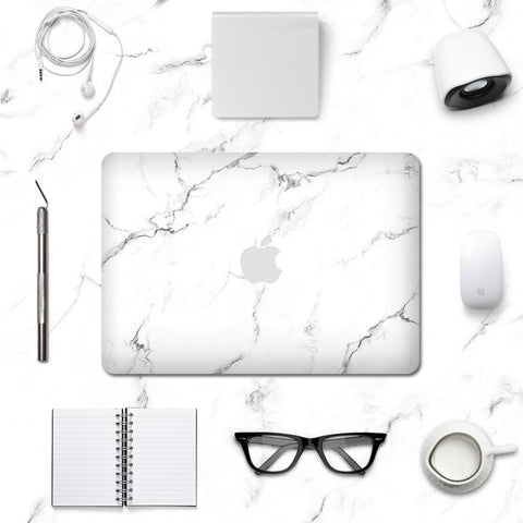 Macbook Decal Skin | Marble Collection - White Marble - Case Kool