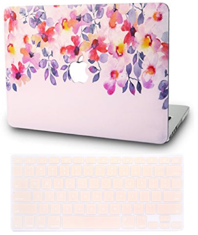 Macbook Case with US/CA Keyboard Cover' Package | Floral Collection - Flower 2 - Case Kool