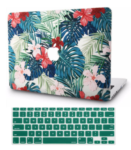Macbook Case with US Keyboard Cover Package | Floral Collection - Palm Leaves Red Flower - Case Kool