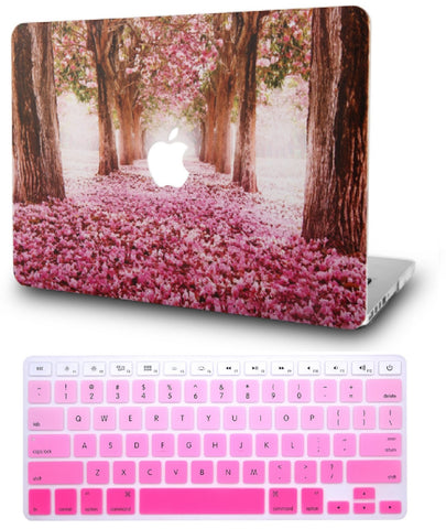 Macbook Case with US Keyboard Cover Package | Floral Collection - Cherry Blossom - Case Kool