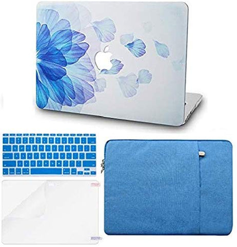Macbook Case with Keyboard Cover, Screen Protector and Sleeve Package | Floral Collection - Blue Flower - Case Kool