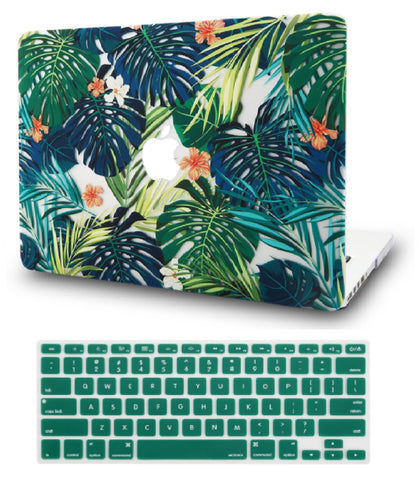 Macbook Case with US/CA Keyboard Cover' Package | Floral Collection - Hawaiian Tropical Palm Leaves - Case Kool