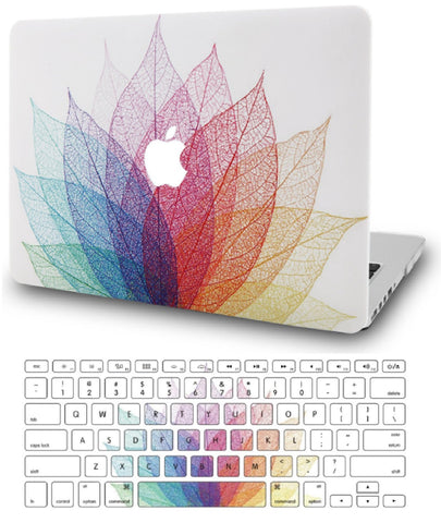 Macbook Case with US Keyboard Cover Package | Oil Painting Collection - Leaf - Colorful 2 - Case Kool