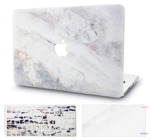 Macbook Case with US/CA Keyboard Cover' and Screen Protector Package | Marble Collection - White Marble 2 - Case Kool